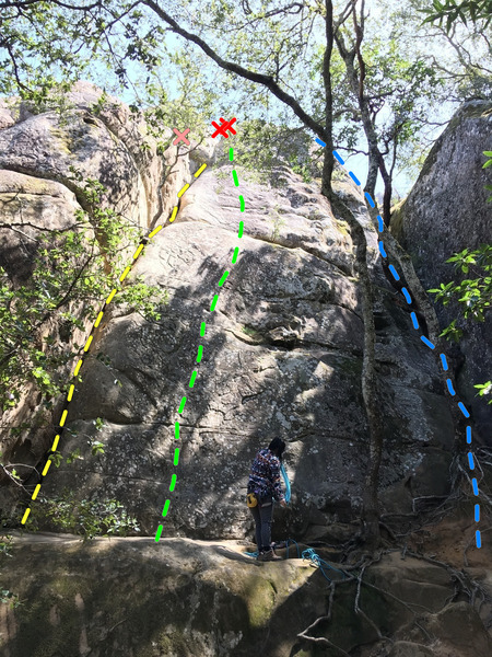 West face of Lower Tier, Boy Scout Rocks. <br> <br> PINK: directional bolt<br> RED: toprope anchors<br> YELLOW: 5.7 Diablo Crack, <br> GREEN: 11a/b Cracker Ass Cracker,<br> BLUE: according to Bay Area Rock guidebook is a 5.6 scramble to anchor