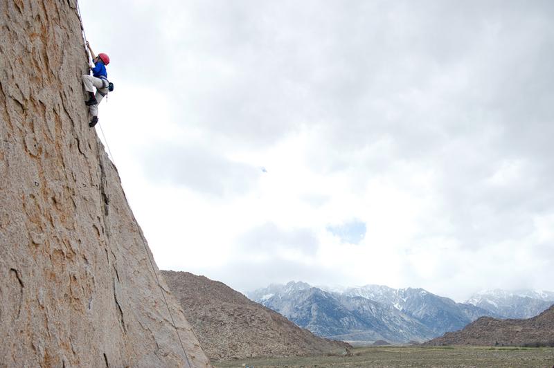 Bryson climbs Muffy (5.8) on the Arizona Dome, Alabama Hills