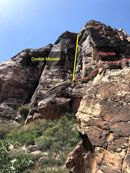 """Cookie Monster is the crack in the center of the photo.  Starts on the ledge (scramble up and to the right and then around left at the top).  Pitch 2/3 ends at the small tree at the top on the """"lunch ledge"""". Drop packs around"""