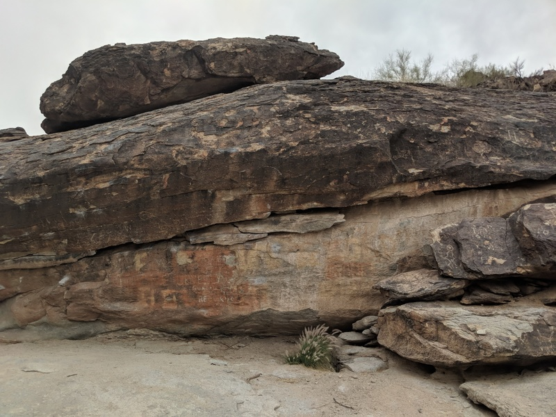 Main entrance boulders, you run into them if you head up the Sandy valley floor trail south west of the stone buildings in Pima valley/national trail. These and many more boulders/problems are found over the next 1/2 miles