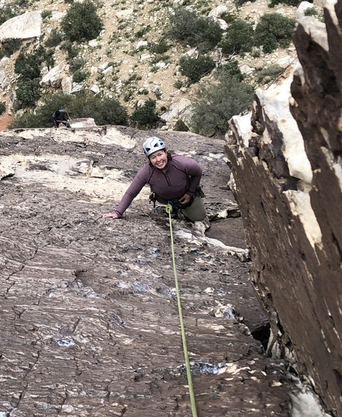 Julie headed up the big dihedral of P2.  First multipitch since the bad accident - way to go!
