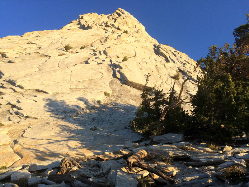 The massive south face of Cathedral Peak.