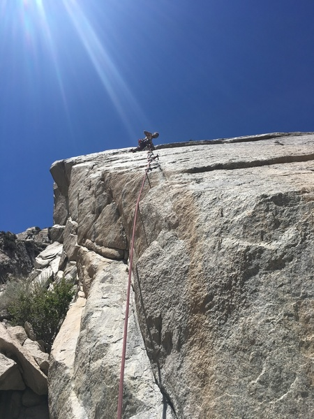 """Follow the most prominent crack to the right of the arete and """"everything is karate""""."""