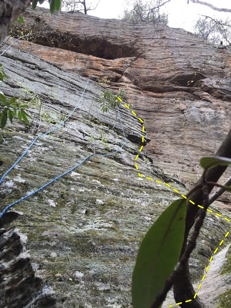 Lichen and moss cover the beginning slab moves. The route follows the right most strand of the rope in the picture.