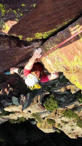 The crux of Handcracker: pulling the bulge above the hand crack.