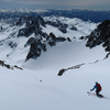 Skiing the upper bowl on Mt. Ritter