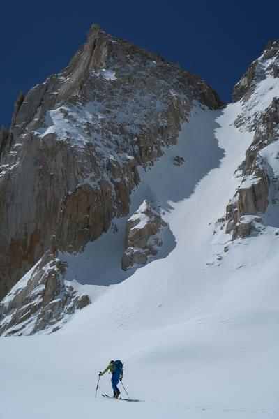 Skinning below the N couloir of Feather Peak