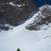 Approaching the N Couloir in spring conditions