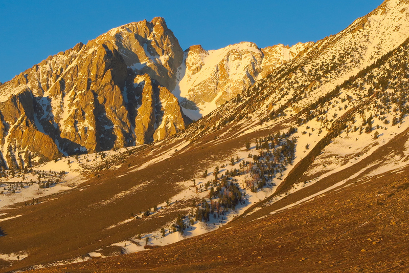 Mt. Humphreys at sunrise.  The North Couloir is right of the summit.