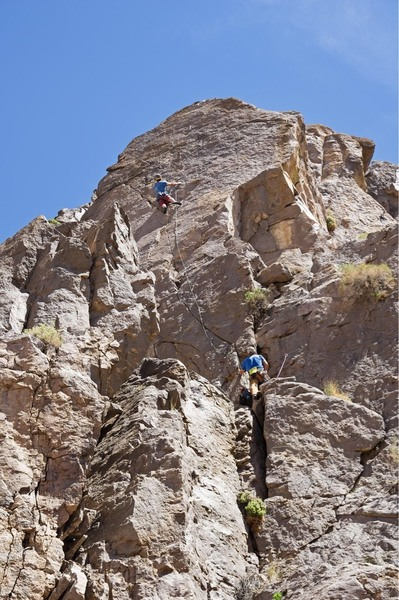 Tom on the second ascent of Atlatl. Photo: S.Vasquez