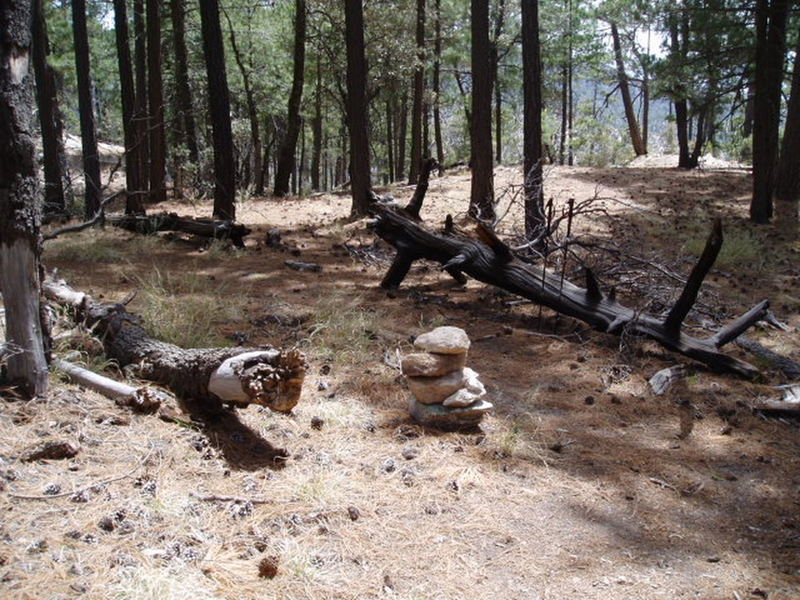 """Cairn about 10 min. """"in"""".  Go straight for Outcroppings, go Left for Boy Scout Wall"""