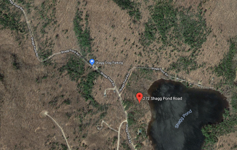 "For Directions, if you type ""272 Shagg Pond Rd, Bryant Pond, ME 04219"" into google maps you should get a red dot where it is in the picture. The blue dot in the picture is where the actual parking lot is."