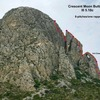 General line of Crescent Moon Buttress.  But more than one rappel, at least 4
