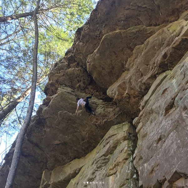 """Getting flexy with the heel hooks in the roof on a free-solo ascent of """"Heresy (5.11c)"""""""