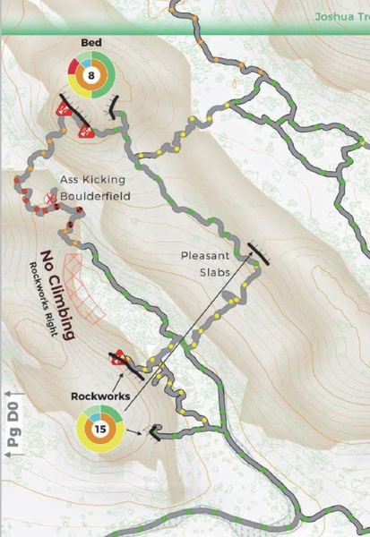 Climb-on Maps Courtesy Post: The alternate approach to Bed Rock to avoid the heinous boulder field is to walk easy slabs from the SE.<br> This is an extract from our Climber's Map for Joshua Tree. See climbonmaps.com for symbol