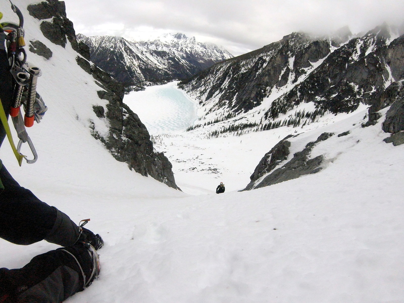 Looking down on the first Couloir, Colchuck Lake below
