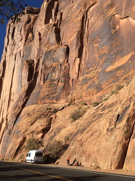 It's so impressive to be climbing under such giant walls.
