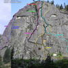 Routes on Snow Creek Wall