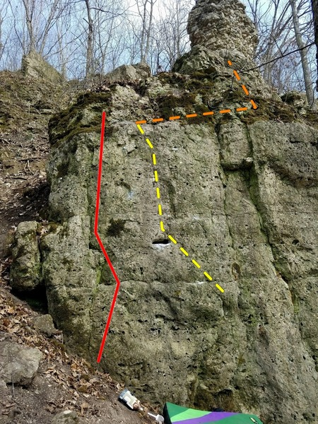 Tribal Groove; main route in yellow, top out in orange.  Stay right of the red line for grade.