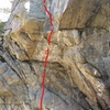 The bottom, overhanging crux section.