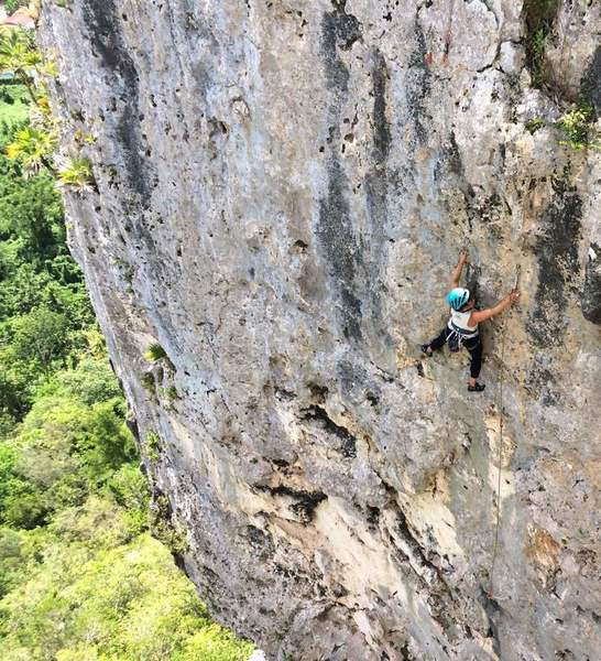 Cara in the crux of Que Siga La Rumba.  Rated 10a in the guidebook but no harder than 5.9, a super classic!