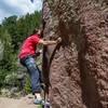 Jonathon on Smeary Things, Milton Boulder, Eldorado Canyon.