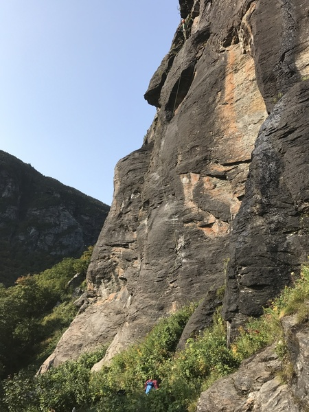Alec at the anchor of Salt the Snake 5.10b