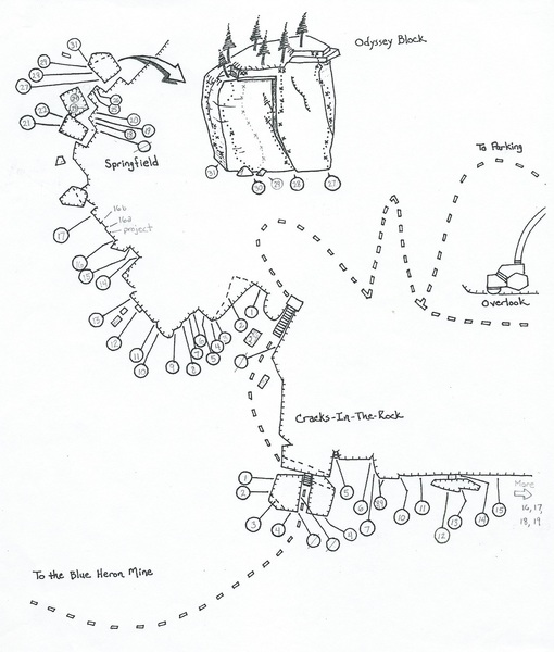 Hand drawn topo of the main climbing area of Blue Heron.  Route Key is in the Comments section below.