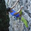 "Cristina midway on ""I'm Only Human"" 5.10d"