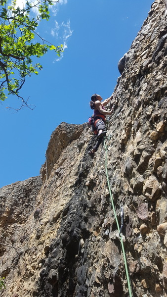 Joi Matsukawa on the first ascent of Sunfish, The Cove, Maple Canyon.