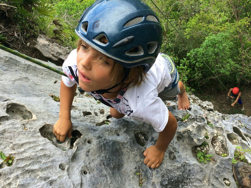 Rincon local Devin, age 7 making another barefoot ascent of La Escalera