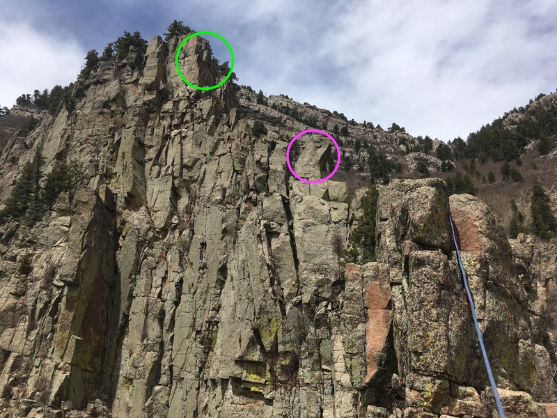 P4 ends around the block in the pink circle- mostly 4th class.  P5 is also mostly scrambling till you get to the short steep section marked with green.