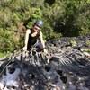 Sue Kligerman near the top of La Grieta (10c)