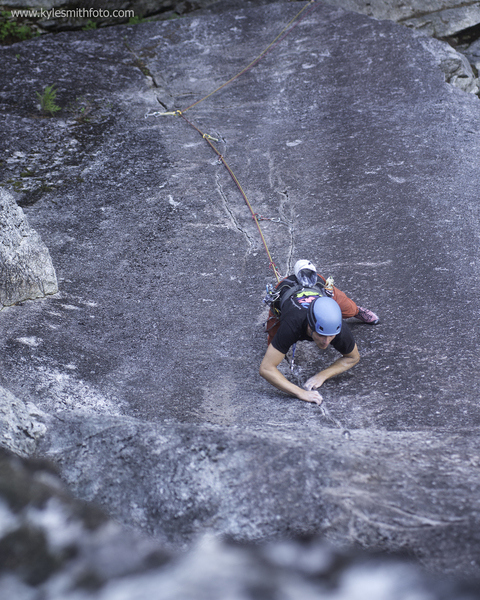 Louis Climbing through the cruxes on Marooned.