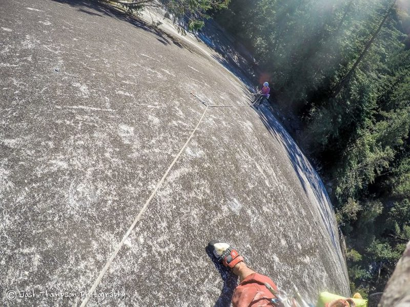 Working up the 2nd pitch.  Looking down at the hanging belay