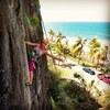 "Adi Carter pulling the big tufa of ""Hump Day"" at Puerto Playa Hermina."