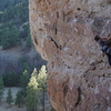 Jilian executes the rad flake sequence in the middle of this awesome climb.