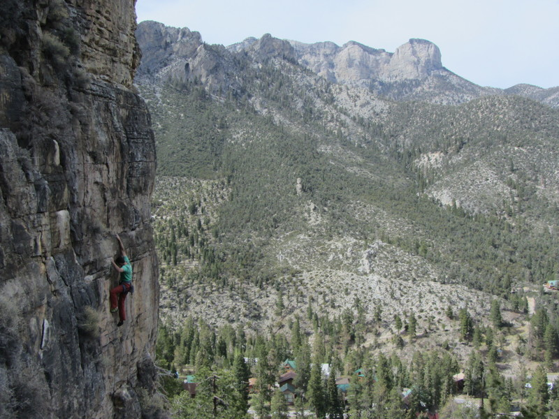 Mike Bond entering the crux high on The Belltower.