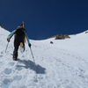 Nearing the top of the snow of the NE Couloir of Mt. Sill