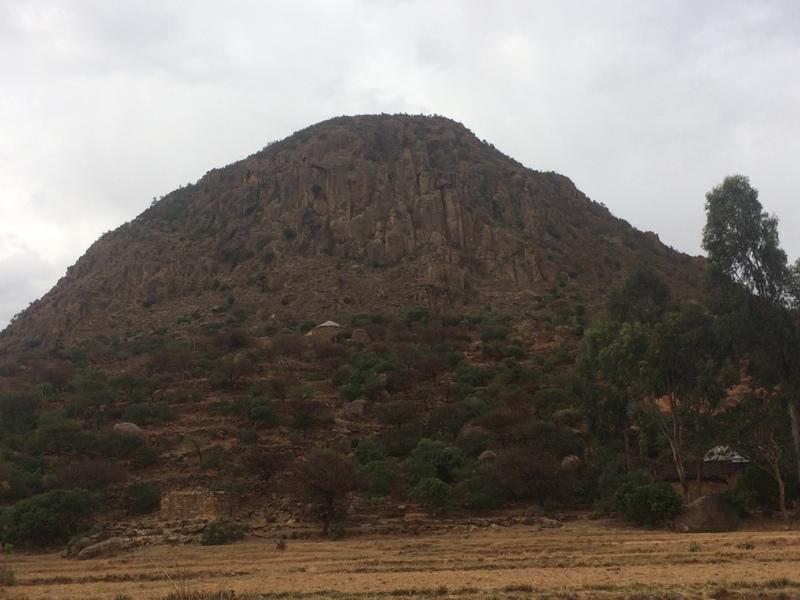 Spring view of the crag in the dry season