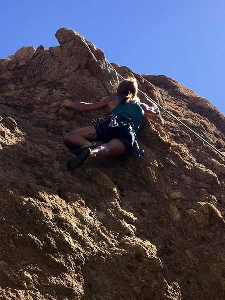 Lauri climbing Parrot Head