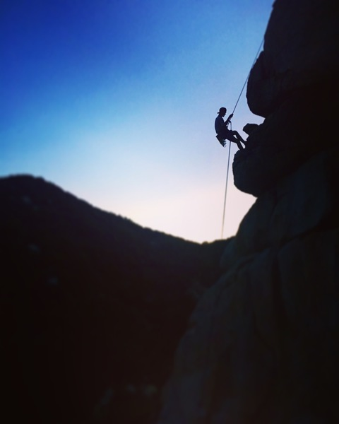 Sunset rappels at the Lake Arrowhead Pinnacles.