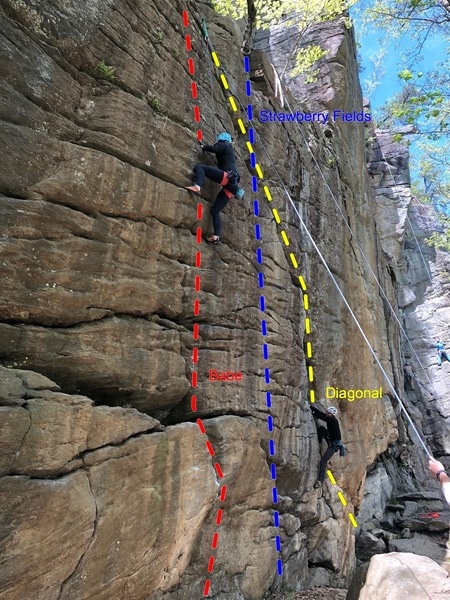 Rachel halfway up Babe (red) while another climber starts Diagonal (yellow) with Strawberry Fields (blue) in between them.