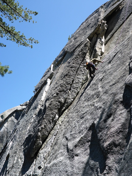If you start just right of little murders on top on the ledge there are two crimps and a fun mantlish sorda move. I continued straight up following the TR.