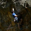 Pulling into the low crux.