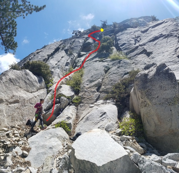 """Start of the route. It was difficult to locate. We did not find the """"Angel Wings"""" described by others. With a 70m rope you can anchor at that upper tree (large cropped pine with large nest; 69M)."""