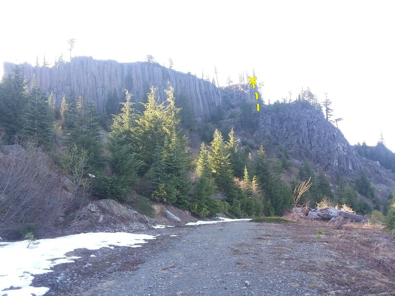 A shot of the North East face. BooBoo kitty is marked in yellow