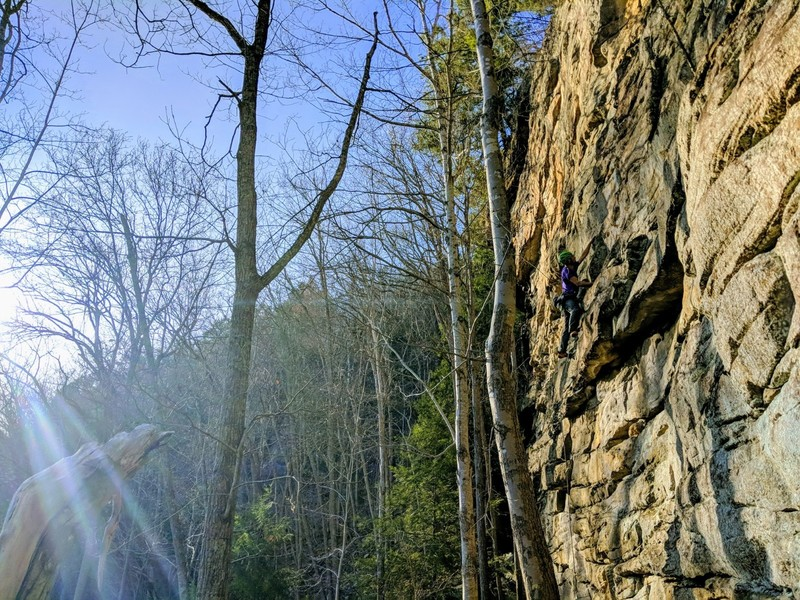 A climber scampering up Towers Crag.