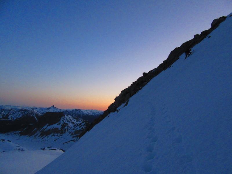 First step leaving Garibaldi Neve to reach the North Pitt Glacier