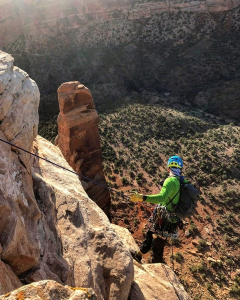 Photo of me rappelling off the wrong side of the canyon and realizing that my 150' static wasn't reaching the ground. Rappel on the looker's left side of the tower.<br> <br> Photo by Daniel Gallardo @tenkarausa.